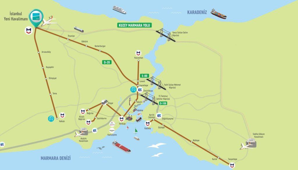 Как добраться из нового аэропорта Стамбула до города на метро